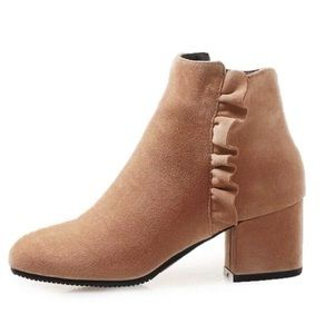 Taupe ruffle accents bootie